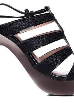 Sandália feminina  gliter preto