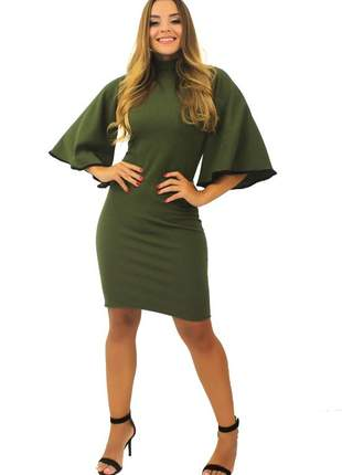Vestido feminino curto gola alta manga flare moda inverno tecido crepe