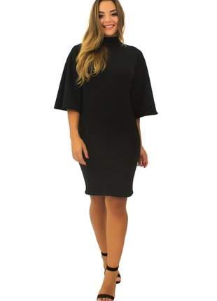Vestido curto feminino manga flare gola alta moda inverno tecido crepe