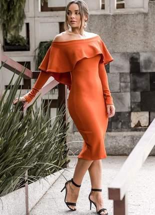 Vestido feminino midi manga longa babado e fenda atrás moda inverno tecido crepe