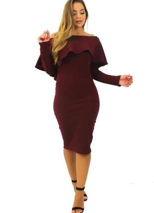 Vestido midi feminino babado manga longa fenda atrás moda inverno tecido crepe