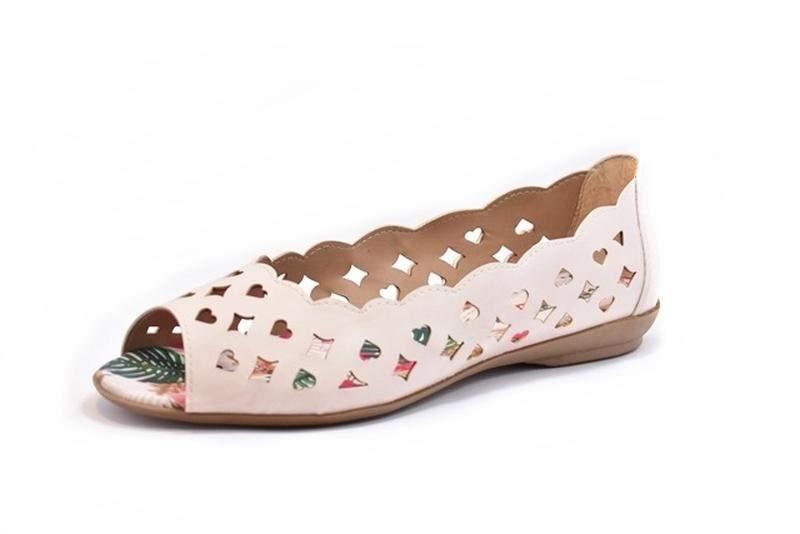 acd1a9188 Sapatilha feminina tamanhos grandes peep toe renata della vecchia creme 40  ao 441 ...