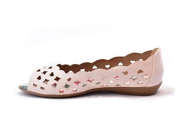 7f48b94a6 ... Sapatilha feminina tamanhos grandes peep toe renata della vecchia creme  40 ao 443 ...