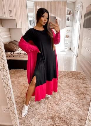 Conjunto saruel vestido e blusão bicolor