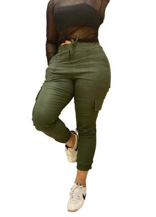 Calça jogger feminina verde militar bengaline