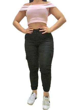 Calça jogger feminina preta bengaline