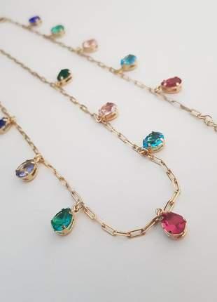 Colar e pulseira com gotas coloridas banhado a ouro 18k - con011