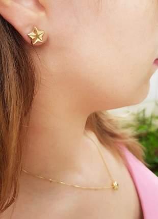Conjunto: colar com pingente e brinco estrela banhado a ouro 18k - con012