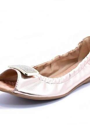 Sapatilha feminina tamanho grande peep toe renata della vecchia cobre especial 40 ao 44