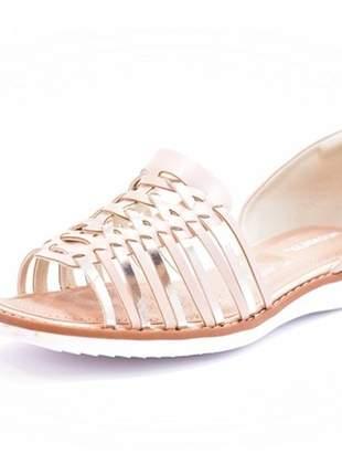 Sapatilha feminina tamanho grande open toe piccadilly rosê numeração especial 40