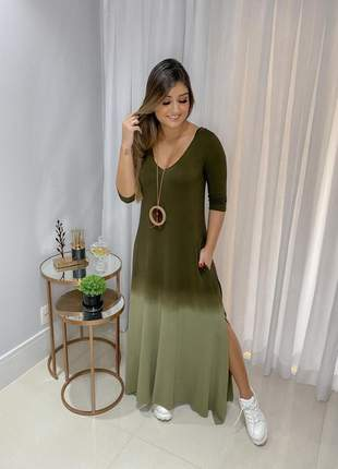 Vestido comfy boho tie dye verde oliva