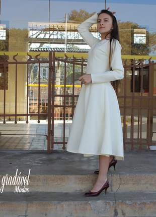 Vestido neoprene rodado tipo sol da terra moda evangelica