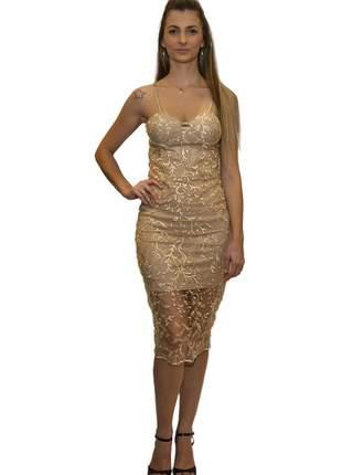 Vestido midi renda trabalhada dourado