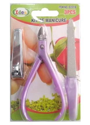 Kit de manicure - peças em aço inoxidável c/ (3 peças)