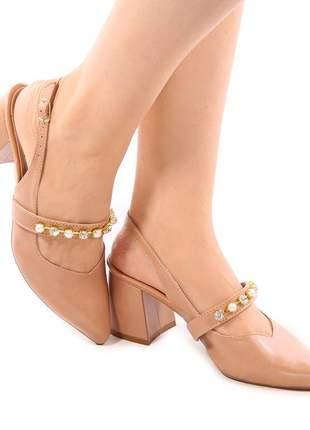 Sapato feminino scarpin chanel nude com strass luxo salto grosso baixo