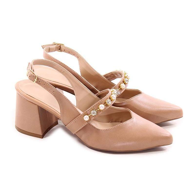 Sapato feminino scarpin chanel nude com strass luxo salto