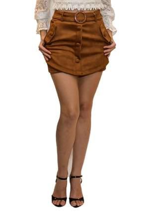 Short saia suede caramelo