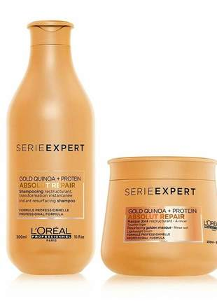Kit shampoo + máscara absolut repair gold quinoa l'oréal professionnel