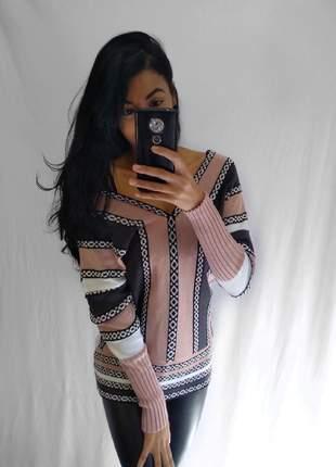 Blusa feminina de trico barroco