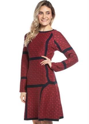 Vestido ralm em jacard raglan estampa losangos - vermelho