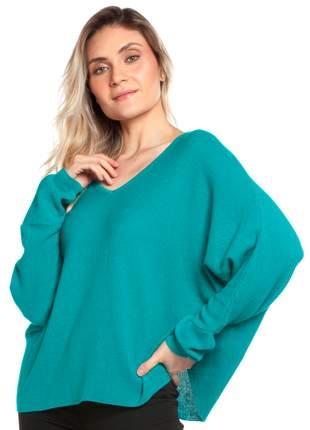 Blusa ralm ampla decote v - azul