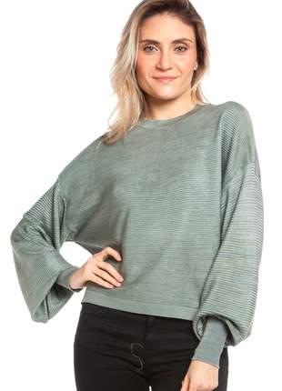 Blusa ralm manga longa relevo com detalhe punhos - cinza