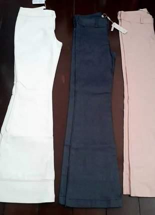 Calças  flare com lycra, cores branca, jeans e rosa