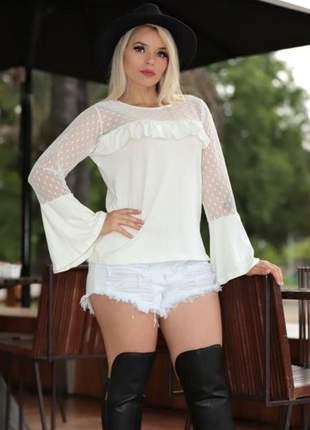Blusa manga longa flare tule