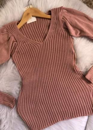 Blusa tricot manga princesa