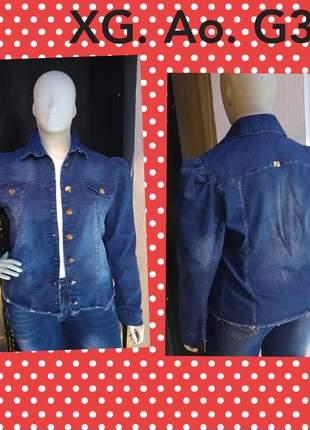 Jaqueta jeans feminina plus size manga bufante xg ao g3