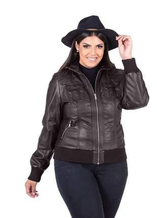 Jaqueta de couro ecológico feminina plus size marrom