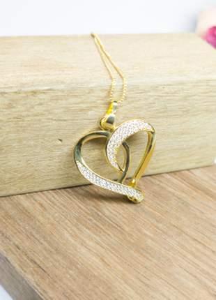 Semi joias colar coração metade zircônias