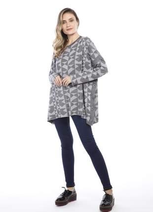 Blusa ralm modelagem ampla - cinza c/ prata