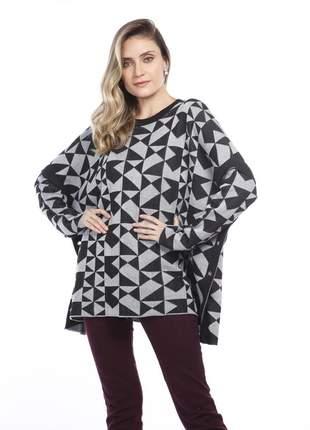 Blusa ralm modelagem ampla - cinza c/ preto
