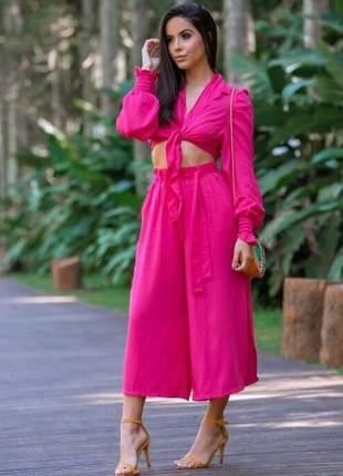 Calça pantacourt rosa