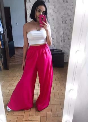 Calça pantalona rosa