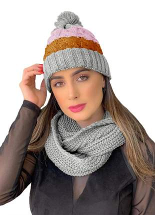 Kit touca gorro tricot +cachecol gola feminino ref:991 (cinza-claro)