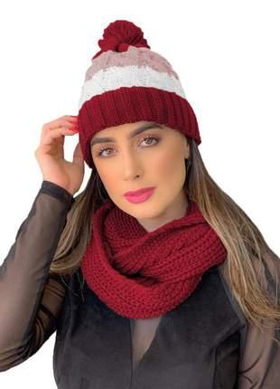 Kit touca gorro tricot +cachecol gola feminino ref:991 (vermelho)