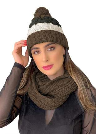 Kit touca gorro tricot +cachecol gola feminino  ref:991 (marrom)