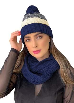 Kit touca gorro tricot +cachecol gola feminino ref:991 (rosa/azul-marinho)