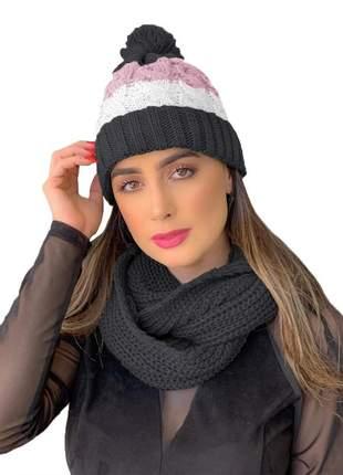 Kit touca gorro tricot +cachecol gola feminino ref:991 (cinza-escuro)