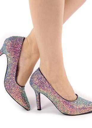 Scarpin glitter holográfico