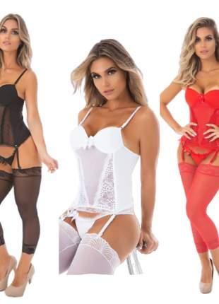 Kit espartilho calcinha cinta liga meia lingerie conjunto 40 - 46