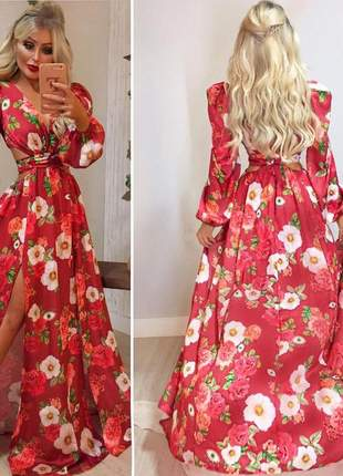 Vestido longo floral casamento marsala