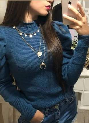 Blusa de tricot manga princesa