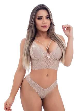 Conjunto lingerie strappy com renda e laço na frente
