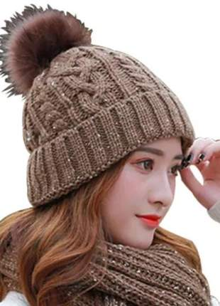 Touca luxo lã pompom pelinho gorro toca feminino