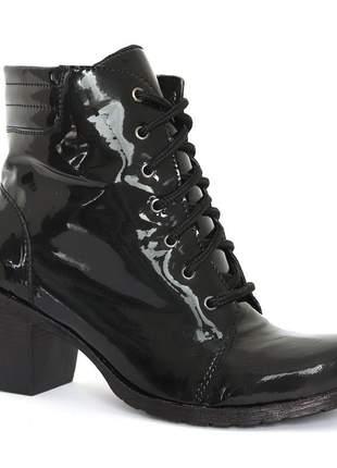 Bota coturno sapato feminino verniz preto