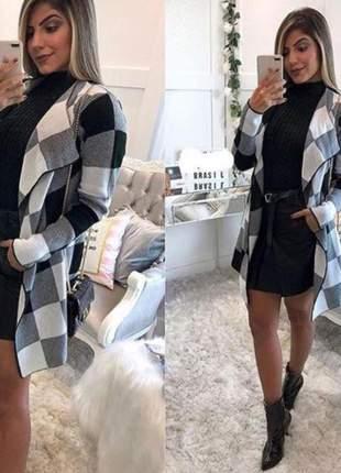 Kimono tricot feminino trico xadrez casaco inverno frio