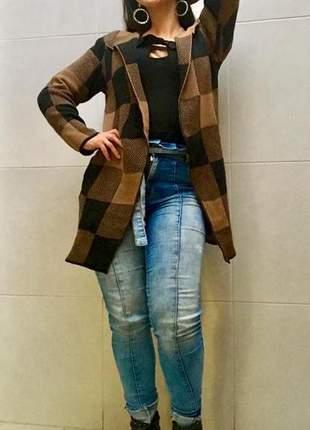 Kimono tricot feminino trico xadrez casaco blusa inverno frio